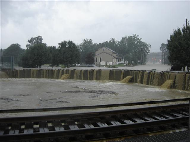 The spillway is overcome with water