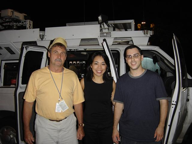 Tom Bodall with News Channel 4 Reporter Daisy Chang and crewman