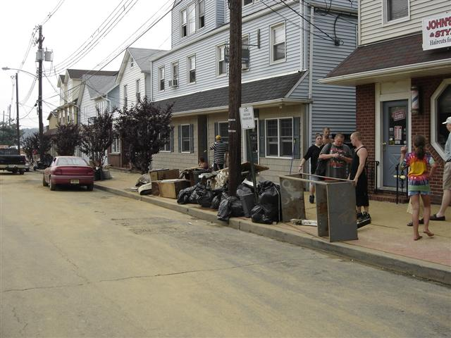 Debris and garbage on West Church Street