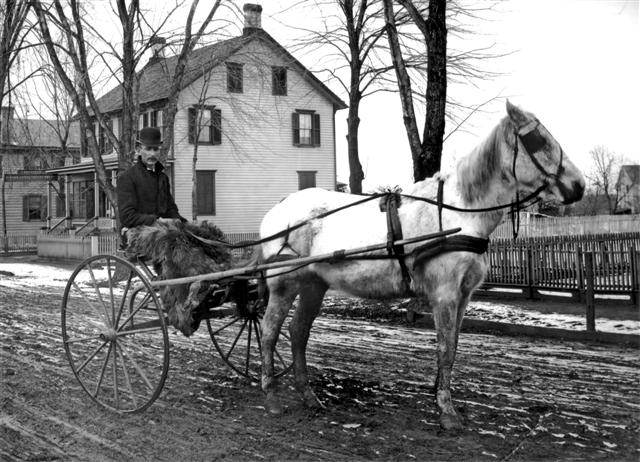 Elsworth Hausman with his horse 'Mack' out for a ride on Buckelew Avenue.