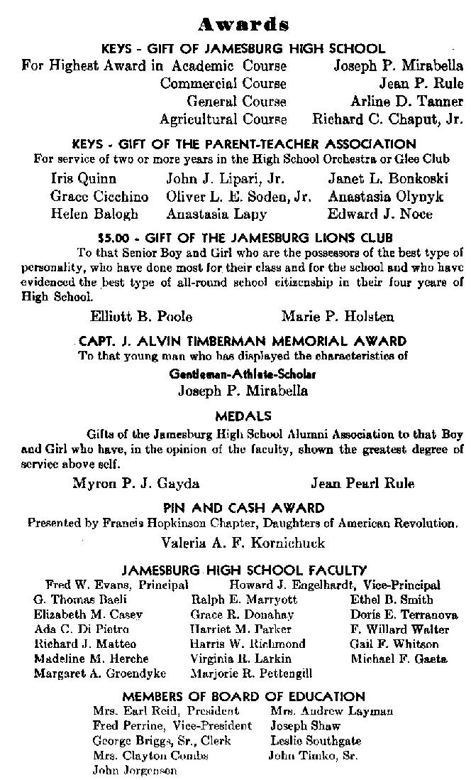 Sample Jamesburg High School Graduation Program